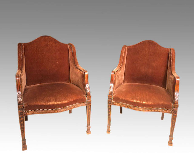 Pair of 19th century oak tub chairs.