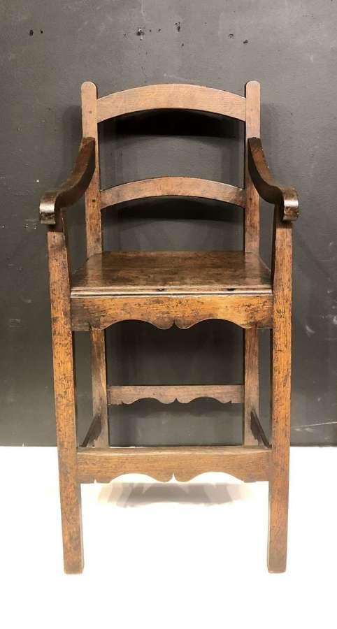 Georgian Welsh oak child's high chair.