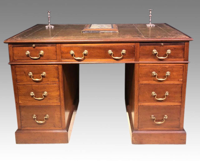 Antique  Victorian mahogany pedestal desk.